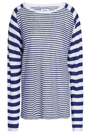 ZOE KARSSEN Striped linen-jersey top