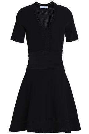 SANDRO Flared pointelle-knit mini dress