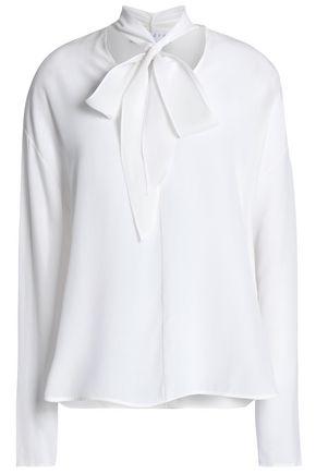 SANDRO Pompa pussy-bow silk crepe de chine blouse