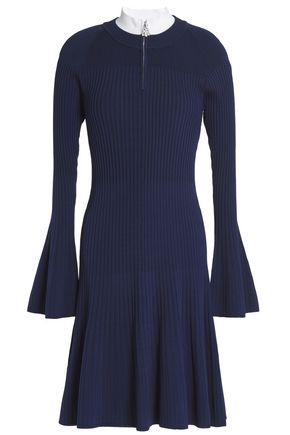 SANDRO Two-tone ribbed-knit mini dress