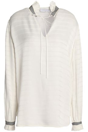 SANDRO Ruffle-trimmed jacquard top