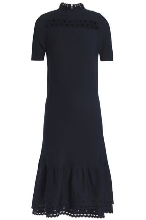 SANDRO Amity cutout stretch-knit midi dress