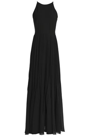 RAOUL Phoebe stretch-jersey and pleated crepe de chine gown