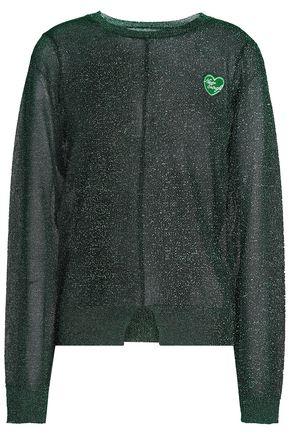 ZOE KARSSEN Appliquéd metallic open-knit top