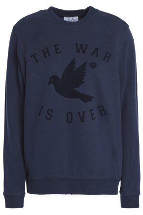 ZOE KARSSEN Flocked cotton-blend sweatshirt
