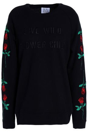 ZOE KARSSEN Embroidered French cotton-blend terry sweatshirt