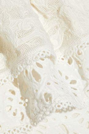 LOVE SAM Island one-shoulder ruffled broderie anglaise cotton mini dress