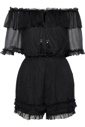 LOVE SAM Off-the-shoulder ruffle-trimmed georgette playsuit