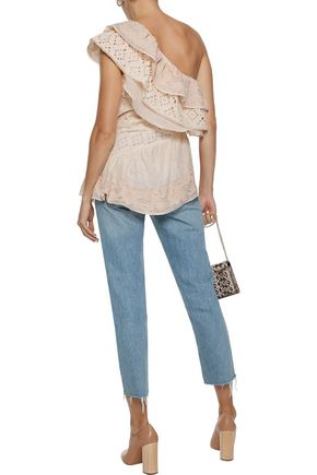 LOVE SAM One-shoulder broderie anglaise, gauze and embroidered woven cotton top