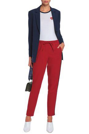 ZOE KARSSEN Embroidered cotton and modal-blend jersey bodysuit