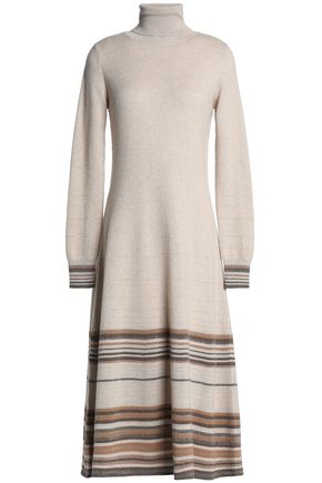 AGNONA Striped cashmere-blend turtleneck midi dress