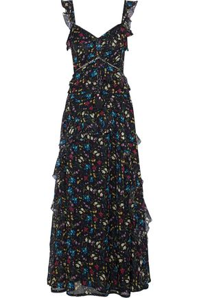 LOVE SAM Blossom ruffled floral-print chiffon maxi dress