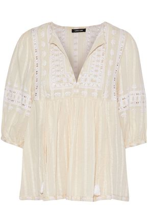 LOVE SAM Midsummer Moments embroidered cotton-gauze blouse