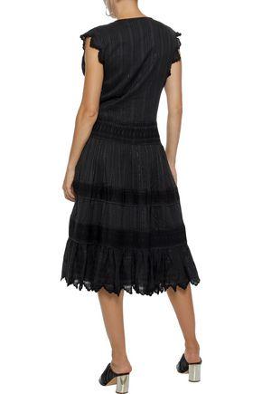 LOVE SAM Metallic embroidered cotton-blend gauze dress