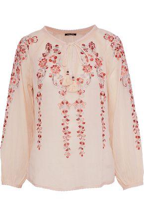 LOVE SAM Embellished cotton-gauze blouse