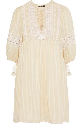 LOVE SAM Midsummer Peasant embroidered cotton-gauze mini dress