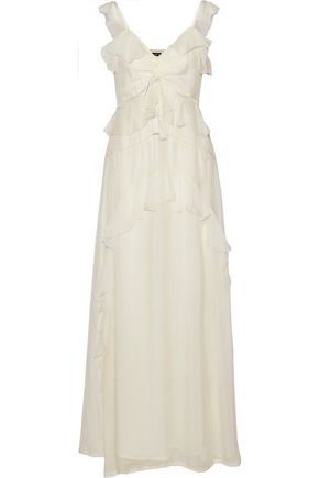 LOVE SAM Lattice-trimmed ruffled voile maxi dress
