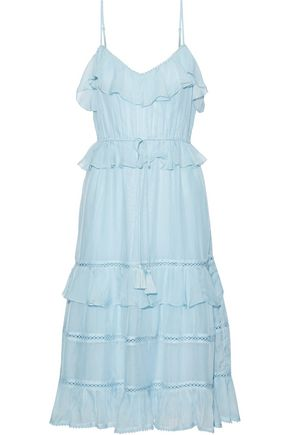 LOVE SAM Blossom lattice-trimmed ruffled voile dress