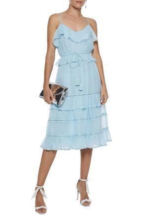 LOVE SAM Blossom lattice-trimmed ruffled voile dress