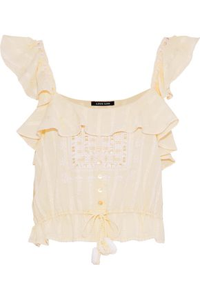 LOVE SAM Midsummer Moments cropped ruffled embroidered cotton-gauze top