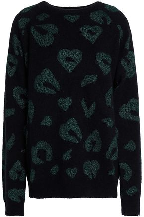 ZOE KARSSEN Metallic intarsia-knit sweater