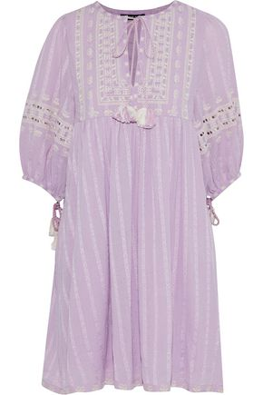 LOVE SAM Embroidered cotton-gauze mini dress