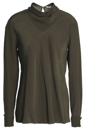 AGNONA Draped silk crepe de chine blouse