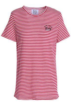 ZOE KARSSEN Embroidered striped cotton-blend jersey T-shirt