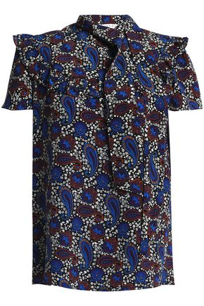 SANDRO Ruffled printed silk top