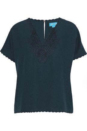 M.I.H JEANS Ladik embroidered crepe top