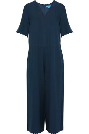 M.I.H JEANS Eva cropped guipure lace-trimmed crepe jumpsuit