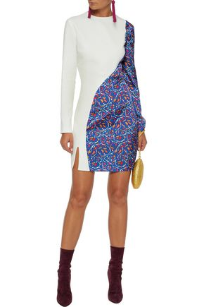 ESTEBAN CORTAZAR Paneled printed crepe mini dress