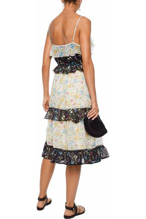 LOVE SAM Tiered floral-print voile midi dress