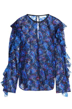 SANDRO_XX Ruffled printed lace blouse