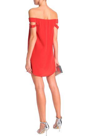 MICHELLE MASON Off-the-shoulder cutout silk crepe de chine mini dress