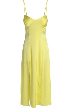 MICHELLE MASON Split-front stretch-silk satin midi dress