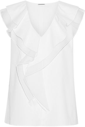 ELIE TAHARI Zavanna organza-trimmed cotton-blend poplin blouse