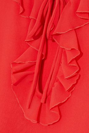 GIAMBATTISTA VALLI Ruffle-trimmed silk crepe de chine blouse