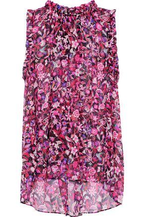ELIE TAHARI Lucy ruffle-trimmed floral-print silk-georgette blouse