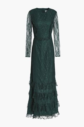 MIKAEL AGHAL Ruffle-trimmed tiered lace gown