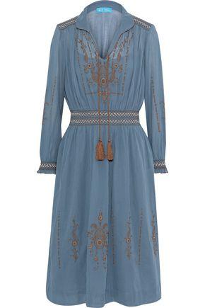 M.I.H JEANS Payton smocked embroidered cotton-gauze dress