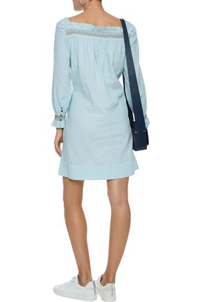 M.I.H JEANS Reyes smocked linen and cotton-blend mini dress