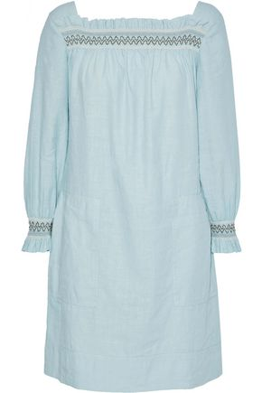 M.I.H JEANS Reyes smocked linen and cotton-blend mini dress