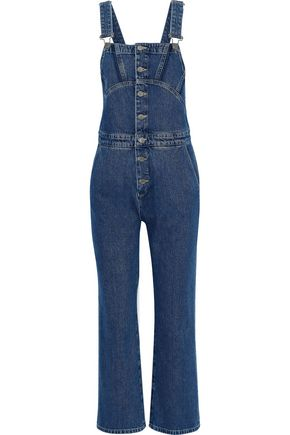 Tribe Cropped Denim Overalls, Dark Denim
