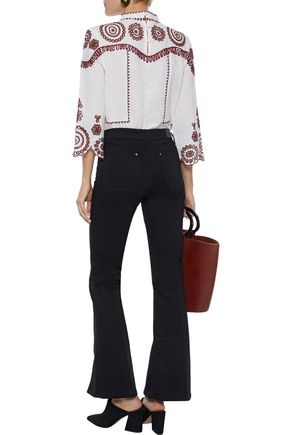 M.I.H JEANS Broderie anglaise cotton and ramie-blend gauze top