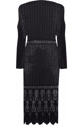 STELLA McCARTNEY Plissé-taffeta embroidered tulle cotton-blend dress