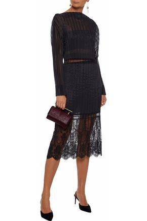 STELLA McCARTNEY Plissé-taffeta embroidered tulle cotton-blend dress