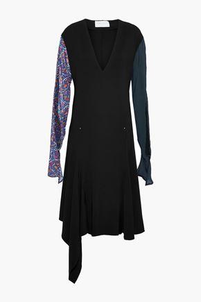 ESTEBAN CORTAZAR Asymmetric printed chiffon-paneled crepe dress