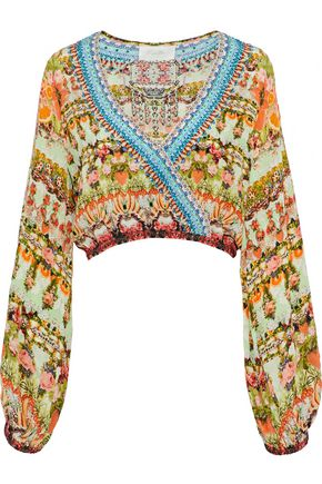 CAMILLA Samba Salada wrap-effect embellished printed silk crepe de chine top