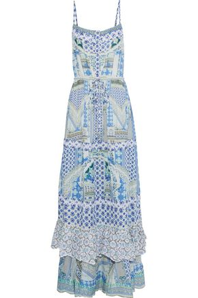 CAMILLA Salvador Summer embellished ruffled printed voile maxi dress